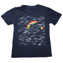 Kids Heather Navy Rainbow Tee