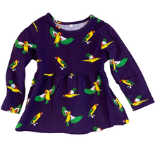 Kids Flying Parrots Midnight Purple Cotton Dress