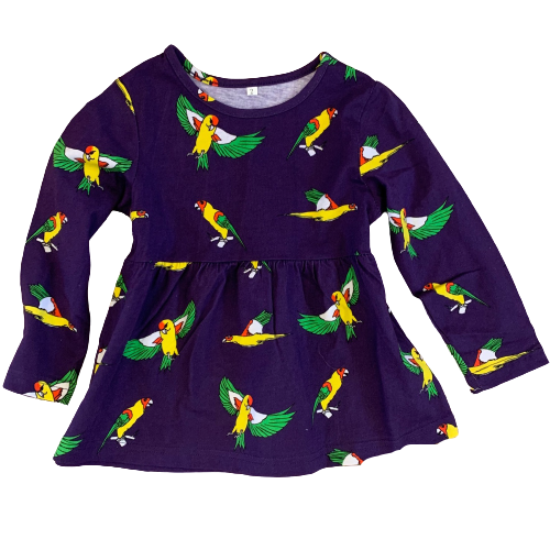 Kids Flying Parrots Deep Purple Cotton Dress
