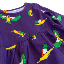 Kids Flying Parrots Midnight Purple Cotton Tunic