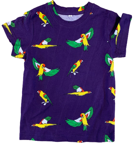 Kids Flying Parrots Midnight Purple Cotton Tee