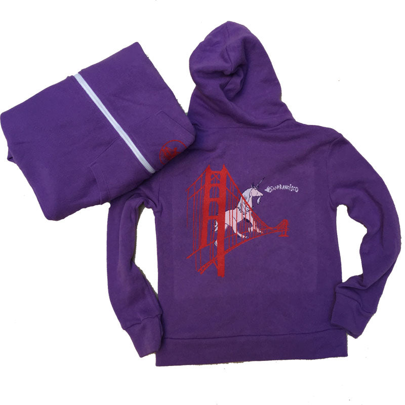 Kids' Purple Unicorn Zip Hoodie