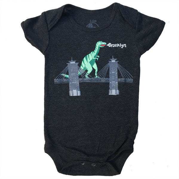 Infant Dinosaur On Brooklyn Bridge Onesie