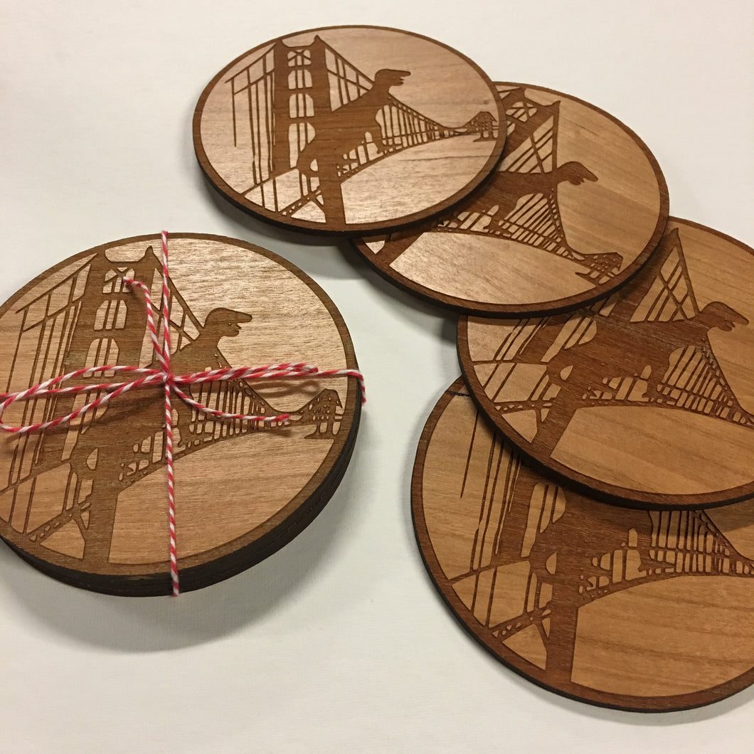 Wood SF Dinosaur Coaster Set