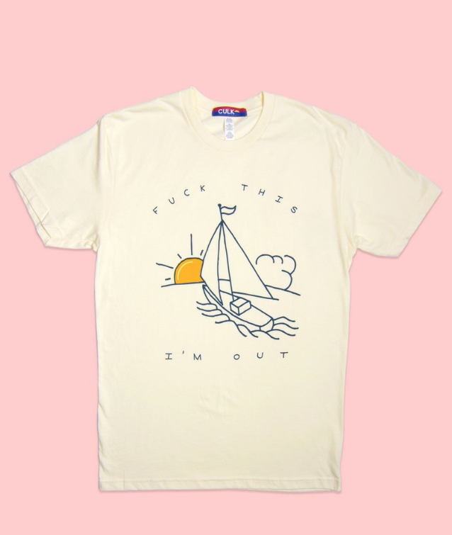 Sailboat Unisex Tee Natural