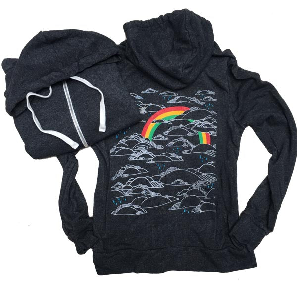Unisex Heather Black Rainbow Ziphoody