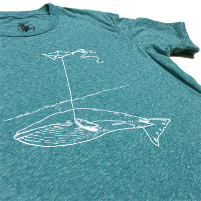 Unisex Heather Teal Whale with Kite Tee