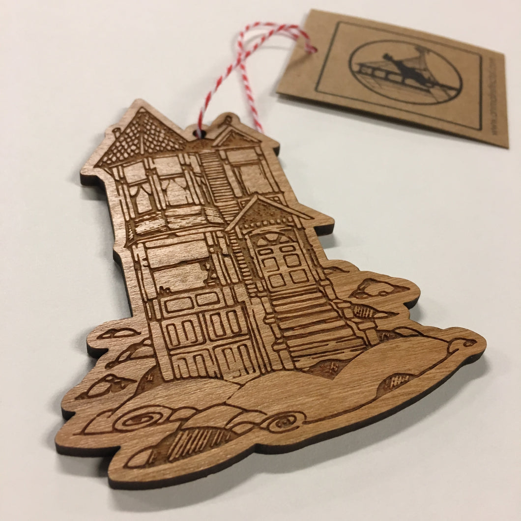 Wood Victorian In Clouds Ornament