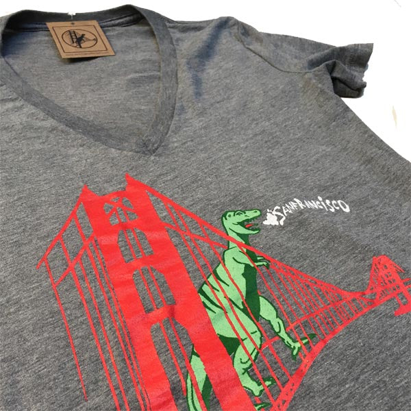 Women's Heather Grey Classic Dino Vneck
