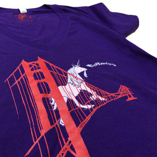 Women's Purple Unicorn Vneck