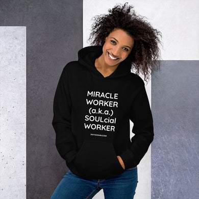 MIRACLE WORKER-SOULcial WORKER. Gildan 18500 Unisex Heavy Blend Hooded Sweatshirt