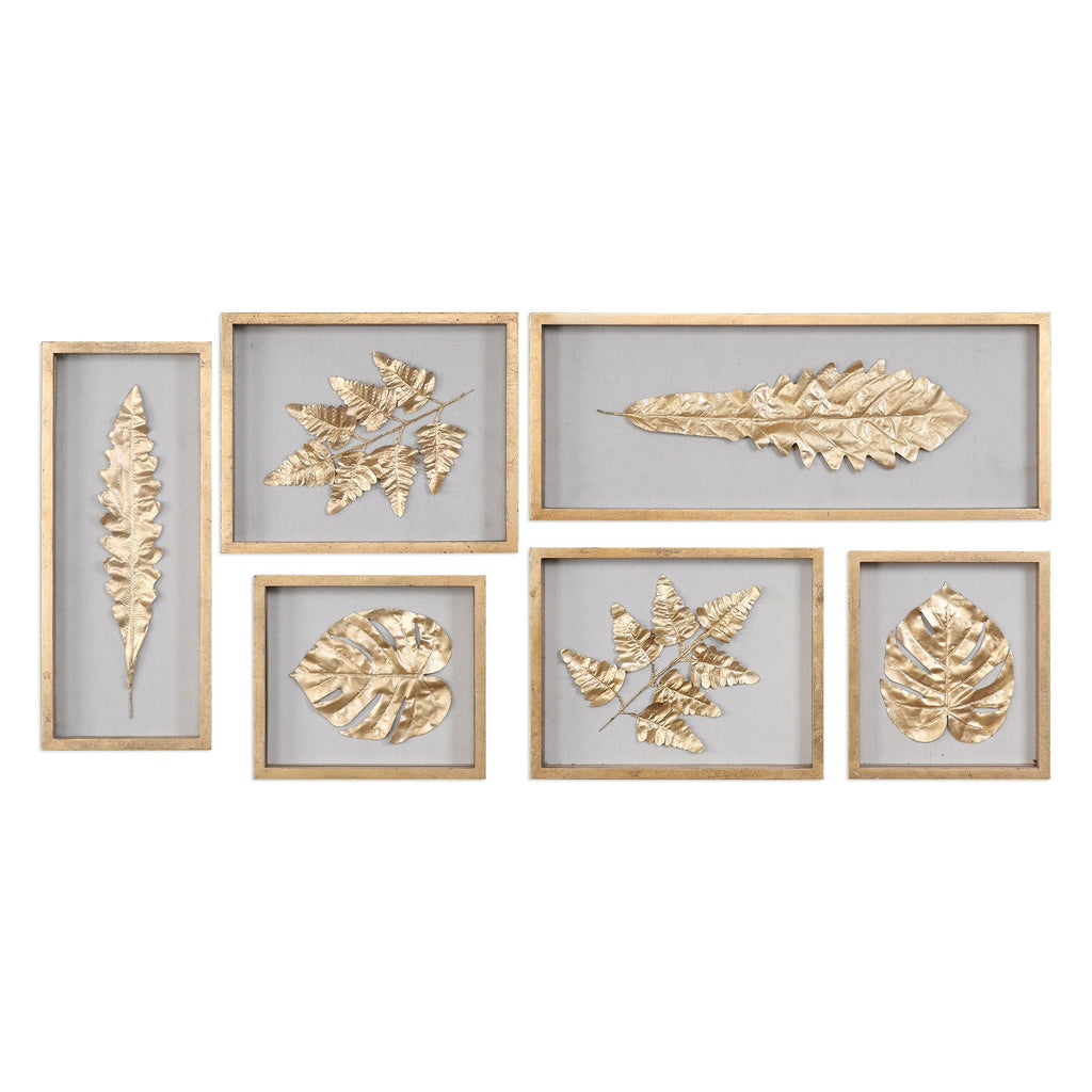 Golden leaves shadow box set of 6