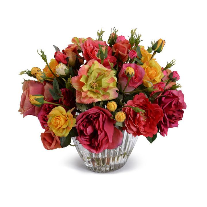 Mixed Roses Arr. In Crystal Vase, 15