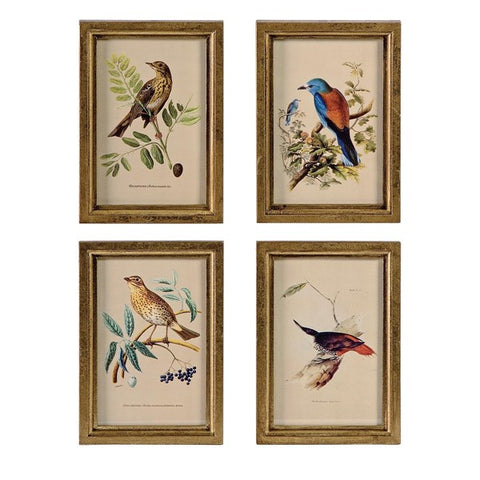 Wooden Bird Plaques - Set of 4
