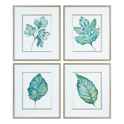 Spring Leaves Framed Prints set of 4