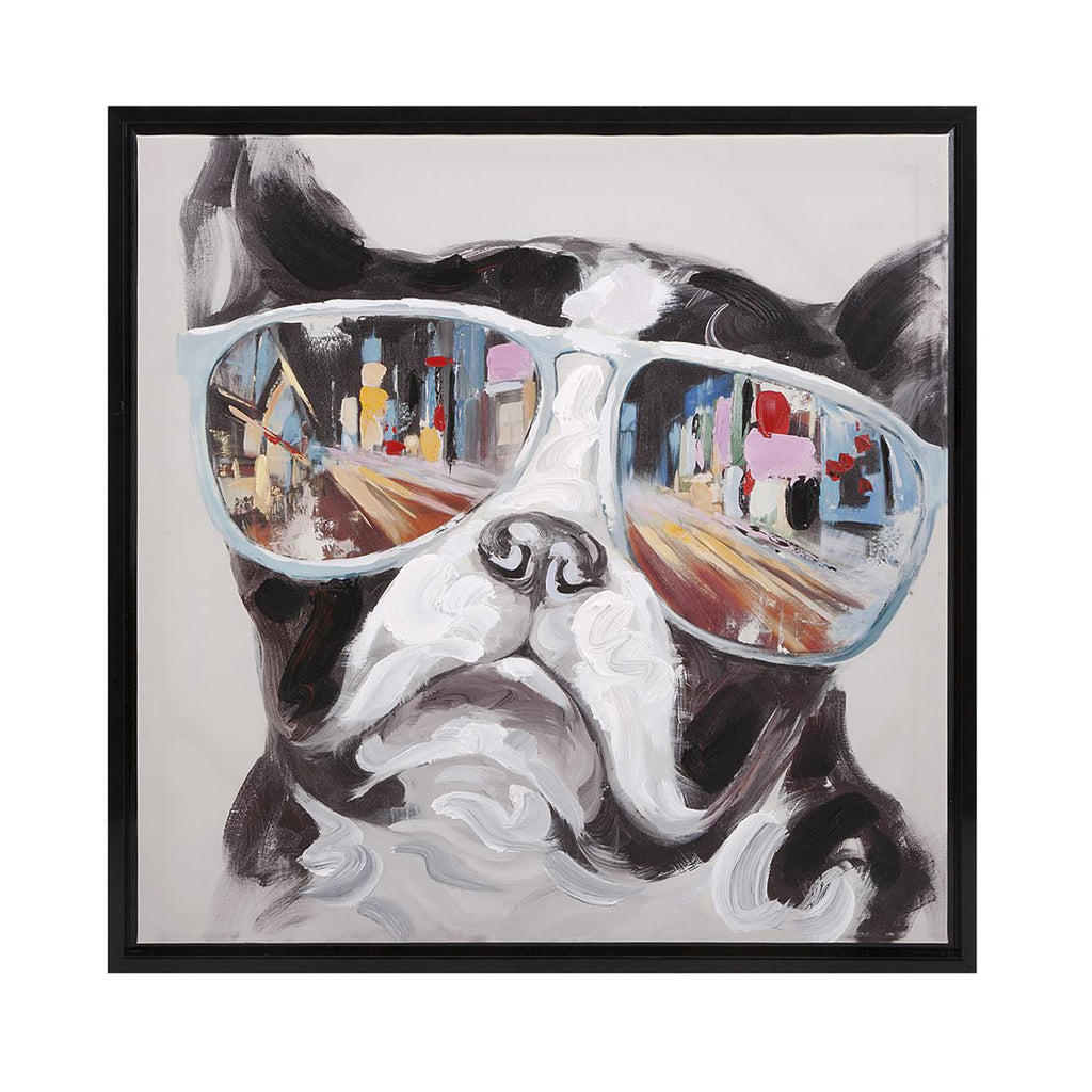 City Shades Dog Framed Canvas