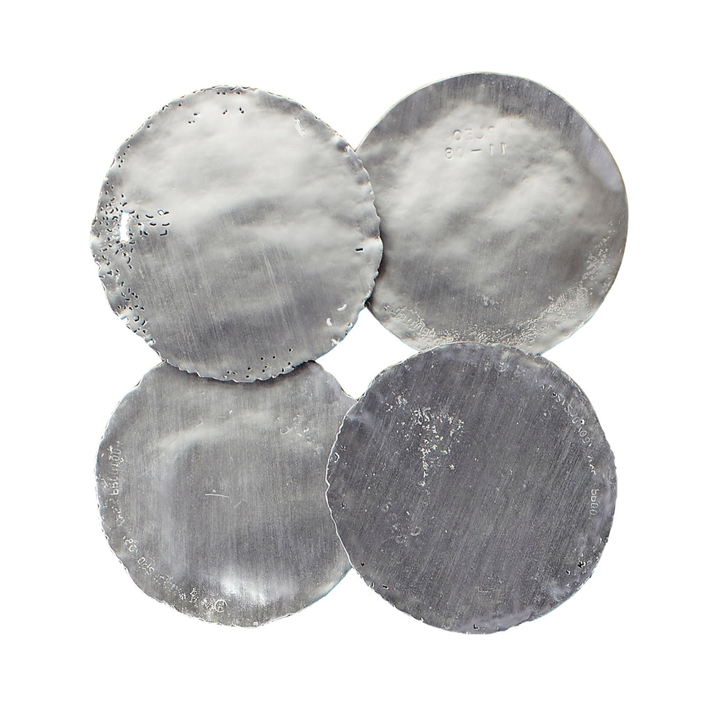 Galvanized Circle Wall Tiles Silver Leaf set of 4