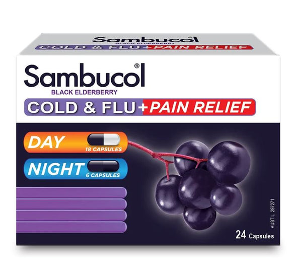 Sambucol Black Elderberry Cold & Flu + Pain Relief 24 Capsules
