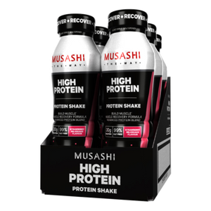 Musashi HIGH PROTEIN Shake 375ml (Box of 6 Drinks) Strawberry Flavour