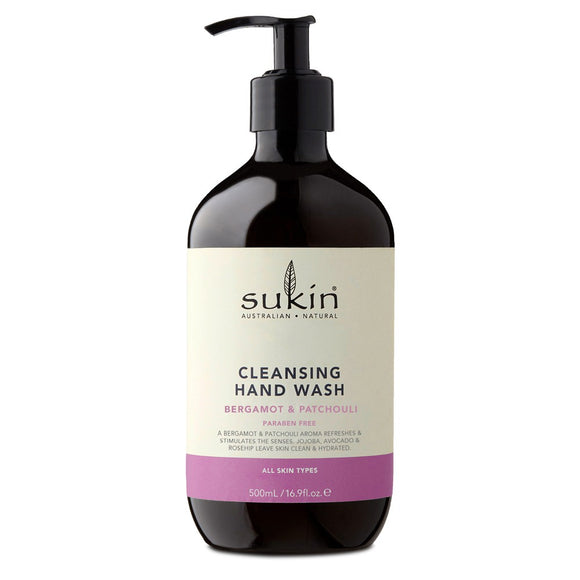 Sukin Cleasing Hand Wash Bergamot & Patchouli 500ml