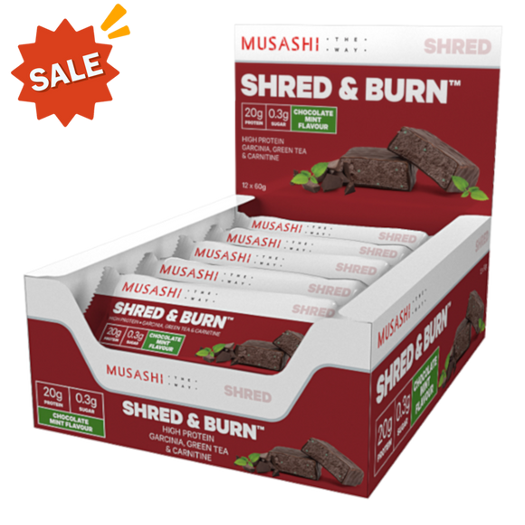 Musashi Shred and Burn Bar Dark Choc Mint 60g (BOX OF 12)