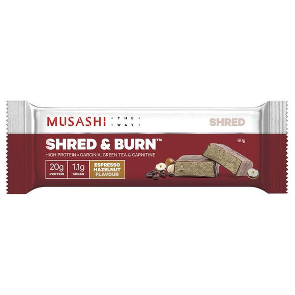 Musashi Shred and Burn Bar Hazelnut Expresso 60g