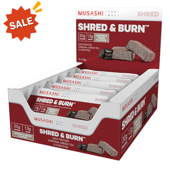 Musashi Shred and Burn Bar Cookies & Cream 60g (BOX OF 12)
