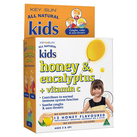 Key Sun All Natural Kids Honey & Eucalyptus + Vitamin C Lozenges (Honey) 12's