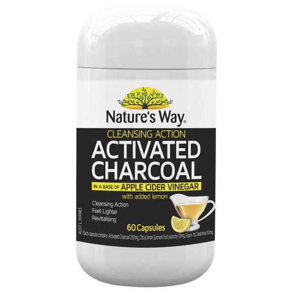 Nature's Way Activated Cleansing Charcoal + Apple Cider Vinegar 60 Capsules