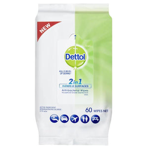Dettol 2 in 1 Hands & Surfaces Antibacterial 60 Wipes