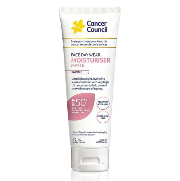 Cancer Council Face Day Wear Matte SPF50+ Invisible (4hr Water Resistant) 75mL