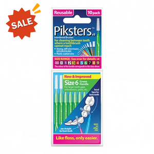 Piksters Interdental Brush Size 6 Pack 10 (Green)