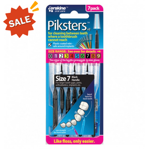 Piksters Interdental Brush Size 7 Pack 7 (Black)