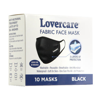 Fabric Face Mask Black 10-pack reusable 3 layers