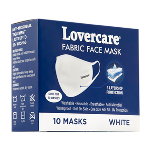 Fabric Face Mask White 10-pack reusable 3 layers