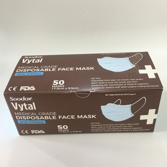 Soodox™ Vytal Medical Grade Disposable Face Mask 50PCS