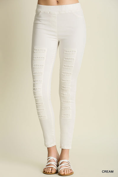 Riley Cream distressed Jeggings