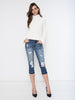 Madison Ripped Denim Capris