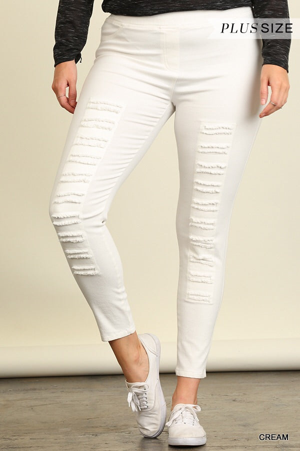 Curvy High Waist Jeggings Cream