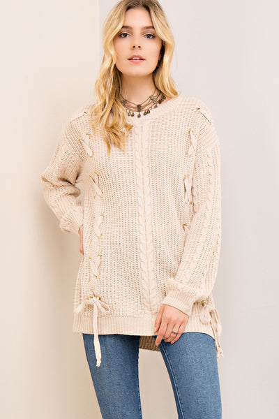 Jennifer Tie up Sweater in Taupe