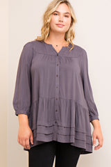 Tess Charcoal Button up Tunic Curvy