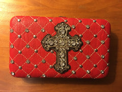 Red Quilted Cross Wallet