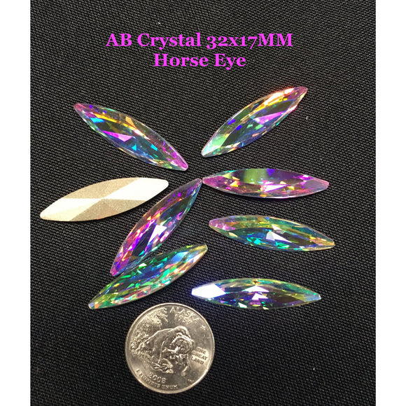 AB Crystal 35x9.5MM  Horse Eye