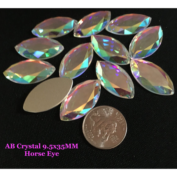 AB Crystal 32x17MM Horse Eye Flat Back