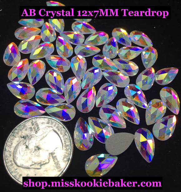 AB Crystal 12x7MM Flat Back Teardrop