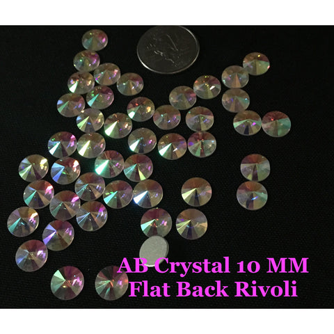 AB Crystal 10 MM Flat Back Rivoli