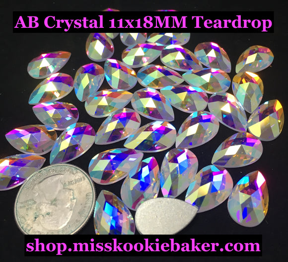 AB Crystal 11x18MM Flat Back Teardrop