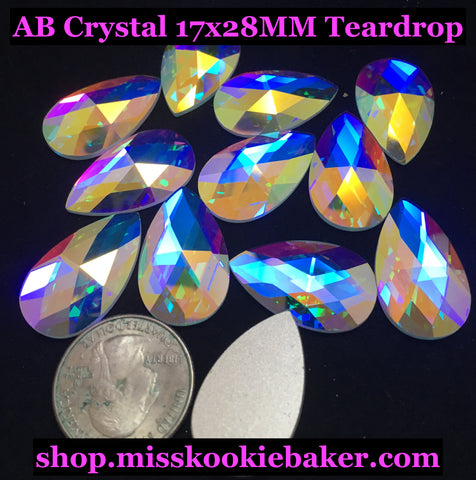 AB Crystal 17x28MM Flat Back Teardrop