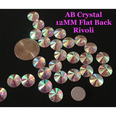AB Crystal 12 MM Flat Back Rivoli