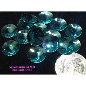 Aquamarine 14 MM Flat Back Rivoli